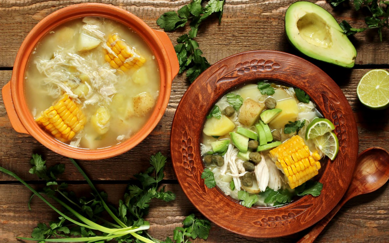 Ajiaco, a typical Colombian dish