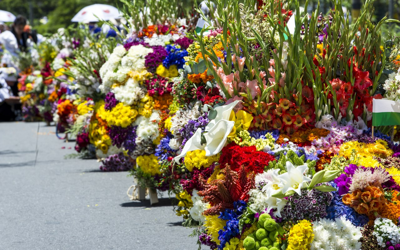 Parade of Silleteros during the Festival of Flowers