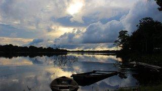 Coucher de soleil sur l'Amazonie en Colombie
