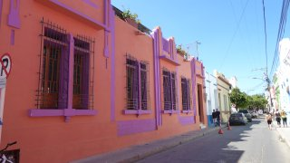 Colourful colonial streets of Santa Marta in Colombia