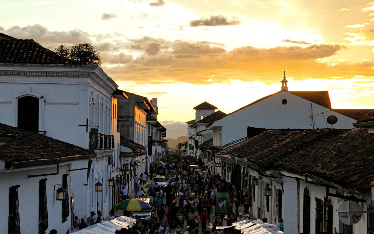Sunset over the city of Popayan