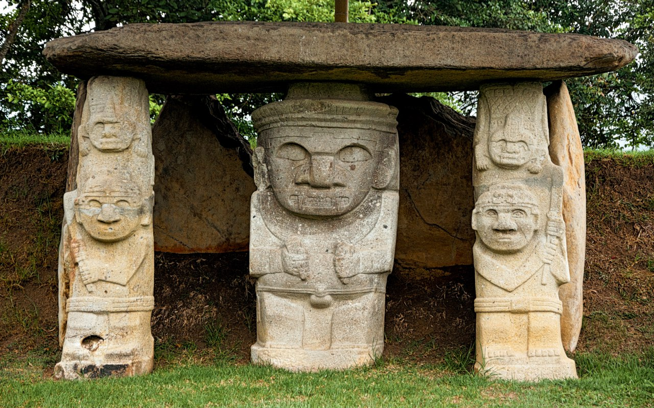 3 ancient statues at San Augustin