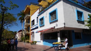 The lively streets of Santa Marta in Colombia